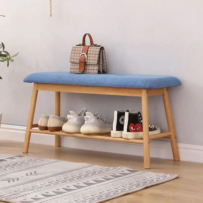 banc a chaussures en bambou avec assise rembourree banc d entree bleu avec 1 etagere de rangement