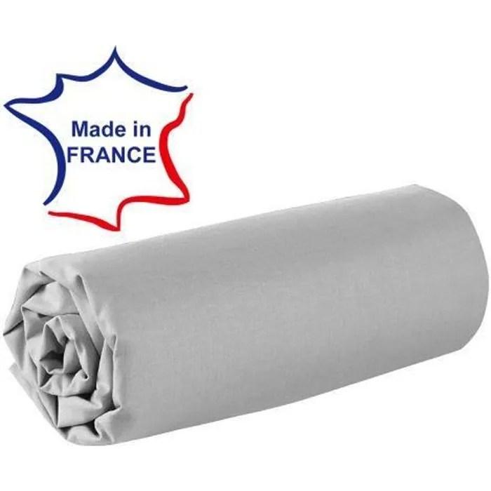 Drap Housse 120 X 190 Cm 100 Coton 57 Fils Made In France Gris Cdiscount Maison