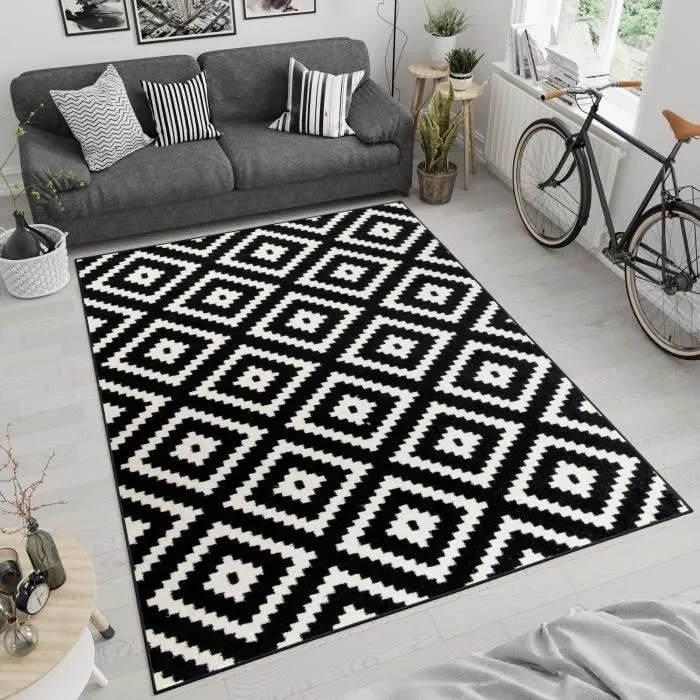 tapiso maroko tapis de salon moderne marocain noir