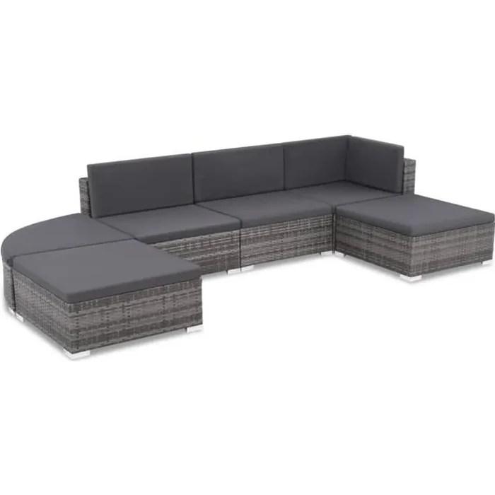 16 pcs ensemble de canape d exterieu resine tressee gris 70 x 70 x 26 cmensembles de meubles d exterieur jeu de meuble de jardin