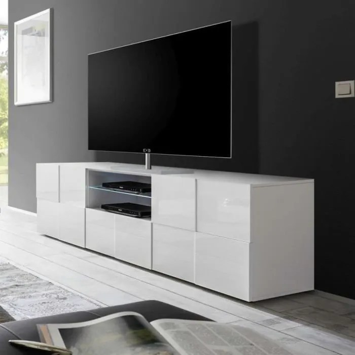grand meuble tv blanc laque brillant artic l 181 x
