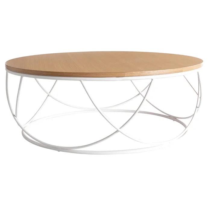miliboo stephane plaza table basse bois et metal blanc ronde 80 cm lace