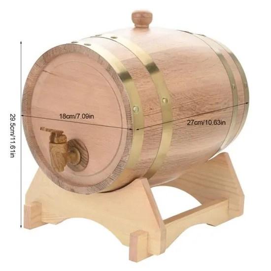 baril a vin tonneau en bois de chene distributeur 5l