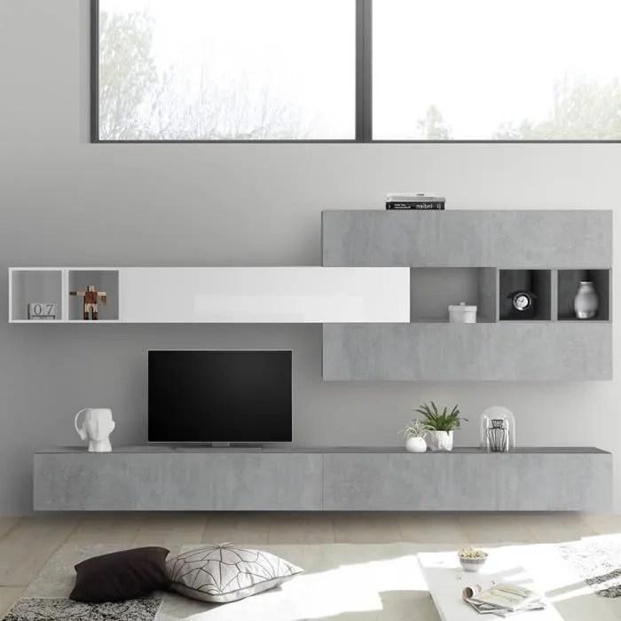 composition murale tv gris beton et blanc laque bo