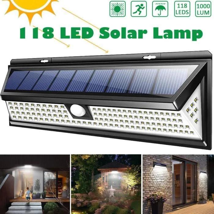 118 Led Lampe Solaire Jardin Exterieur Lumiere 3 Modes Avec Capteur De Mouvement Cdiscount Maison