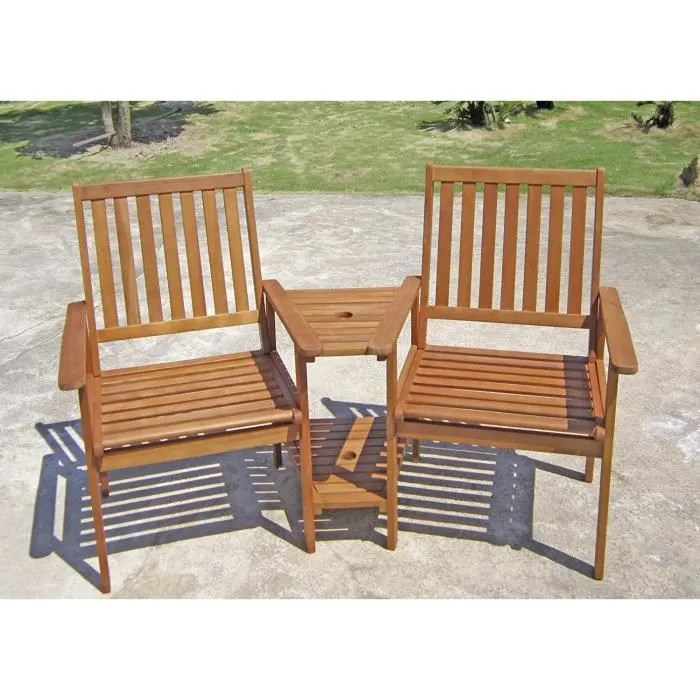 unbekannt exterieur double fauteuil jardin bois chaise eucalyptus huile terrasse cour depose parasol orifices harms 985092