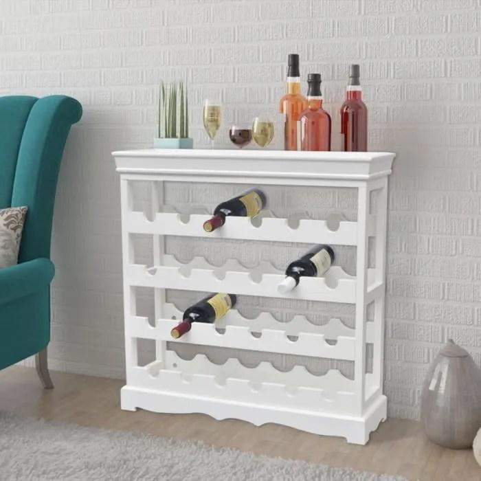 casier a a vin 4 etageres 24 bouteilles de vin 70 x 22 5 x 70 5 cm blanc pour salon salle a manger ou couloir