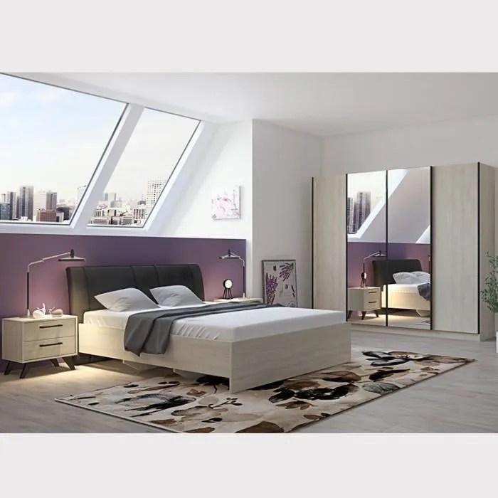 chambre a coucher complete moderne couleur bois clair anya beige l 170 x p 221 2 x h 97 8 cm