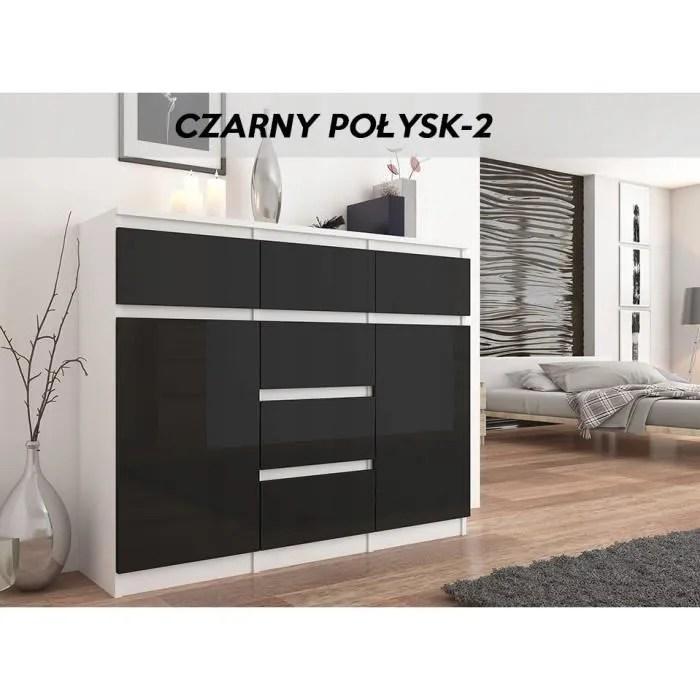 monaco w2 commode design contemporaine meuble rangement chambre salon 120x40x98 dressing 6 tiroirs niches buffet sejour