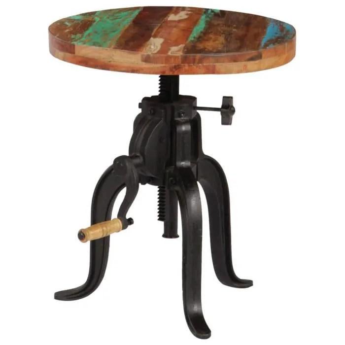 Table D Appoint En Bois De Massif Hauteur Reglable Table De Bar En Bois Ronde Table Cuisine 45 X 45 62 Cm Achat Vente Table Basse Table D Appoint En Bois De Cdiscount