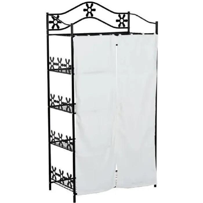 armoire penderie multi rangements 5 etageres metal noir motif fleurs 2 rideaux blanc neuf 50