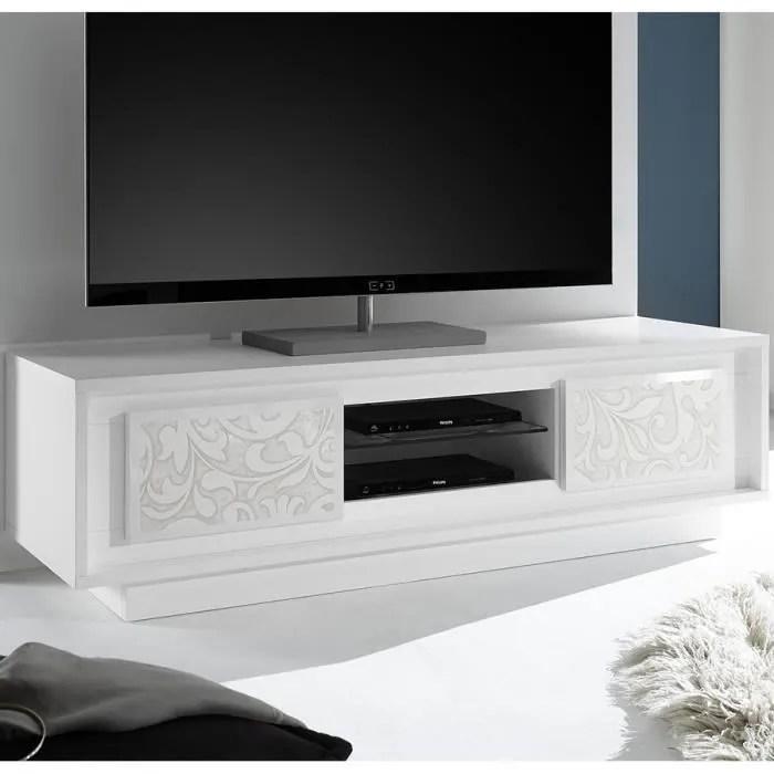 meuble tv blanc laque mat avec motifs fleurs fanti