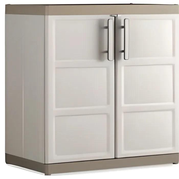 armoire de rangement basse xl excellence sable beige