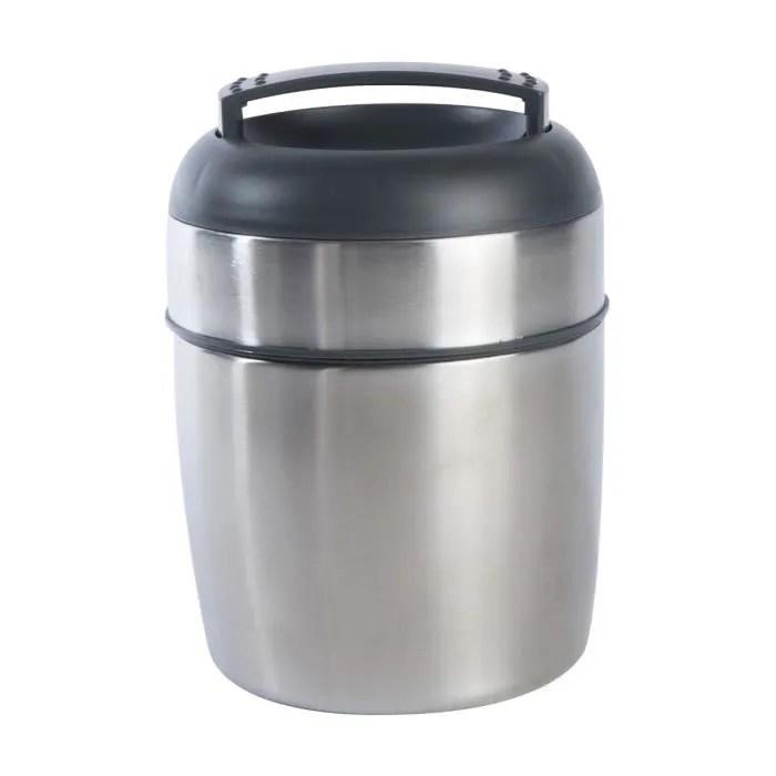 boite alimentaire lunch box isotherme en inox 2 compartiments et cuillere integree capacite 1 4l gris