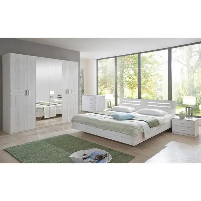 chambre adulte 160 x 200 cm imitation chene blanc chrome brillant