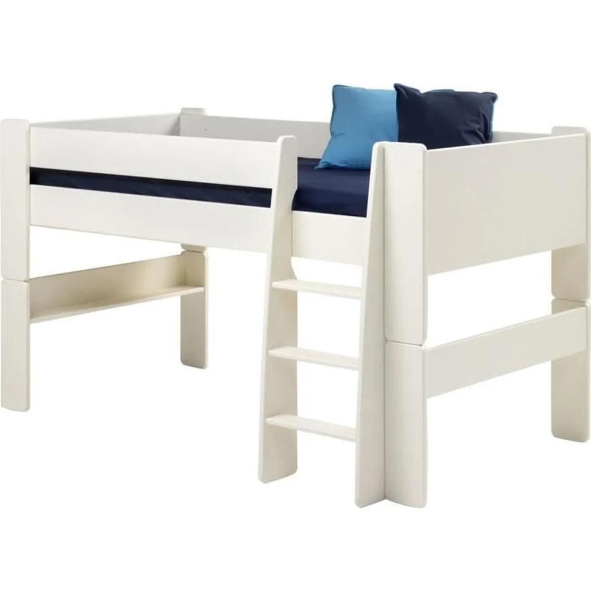 lit mi hauteur pour enfant en mdf bois verni blanc dim 206 x 114 x 113 cm