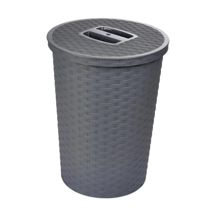 poubelle avec couvercle tresse 23x30 5 cm 10 l gris