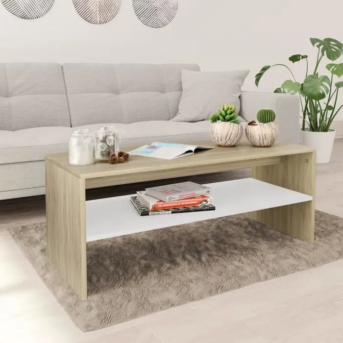 table basse chene blanchi
