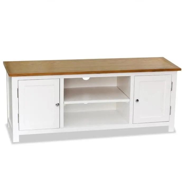 meuble tv 120x35x48 cm bois de chene