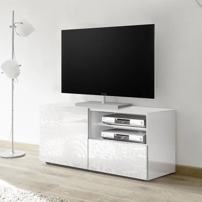 petit meuble tele blanc laque design nerina l 122