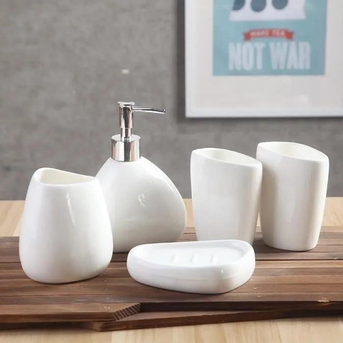 accessoires salle de bain en ceramique set 5 pcs d