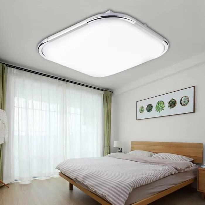 tempsa 18w 1600lm 48led plafonnier moderne carre lampe pour salon salle de bains chambre a coucher argent