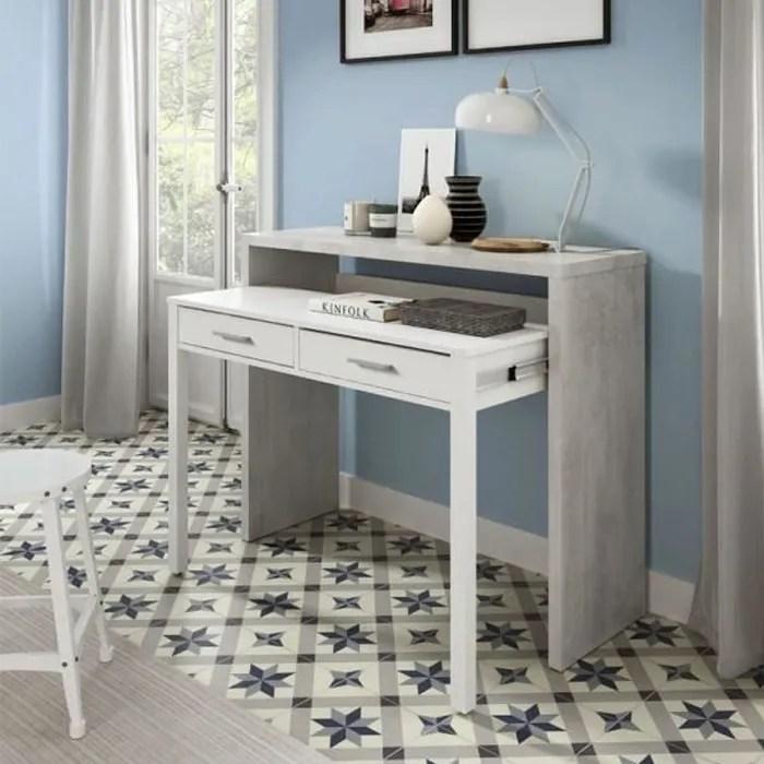console bureau extensible blanc beton clair nial