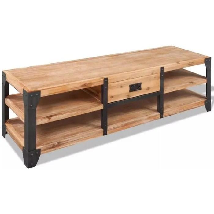 meuble tv bas style industriel 100 bois d aca