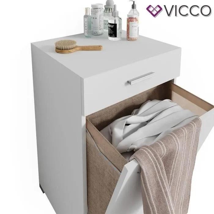 vicco armoire a linge matteo avec compartiments meuble de salle de bain blanc xl