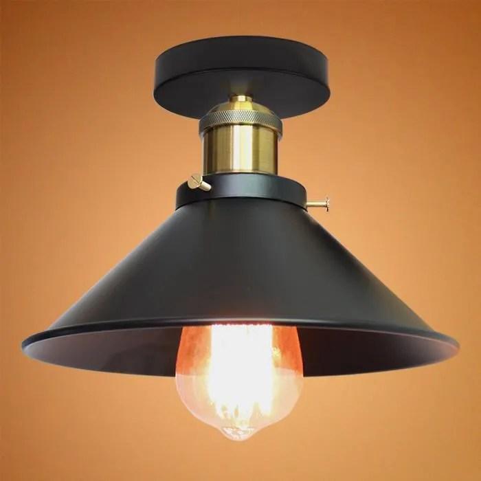 plafonnier industriel vintage en metal lustre noir luminaire abat jour de 26cm pour couloir chambre
