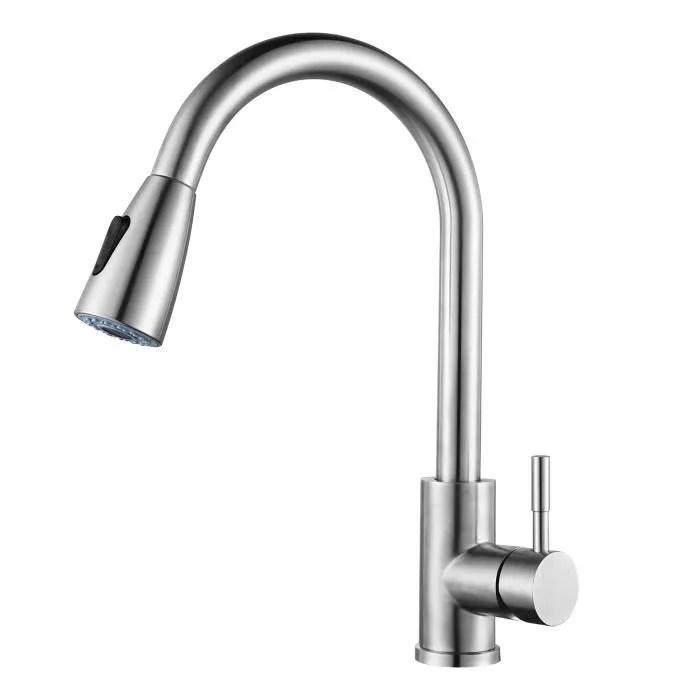 wowow robinet de cuisine douchette extensible robinetterie cuisine pivotant a 360 mitigeur evier 2 jets au choix avec mousseur abs