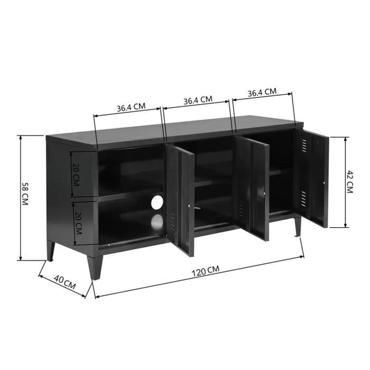 meuble tv caisson metal casier 3 portes noir armoire vestiaire metal a casiers meuble de rangement verrouillables etageres noir