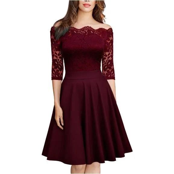 couleur pure robe en dentelle femme