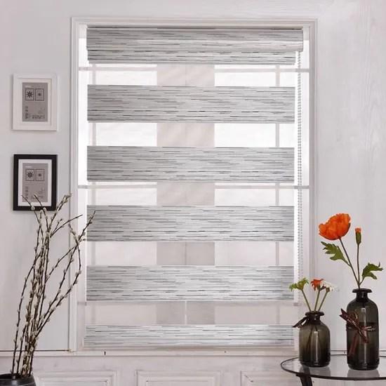 store enrouleur 45 x 120 cm gris store jour nuit tamisant sans percage pour fenetre porte motif de texture en bois