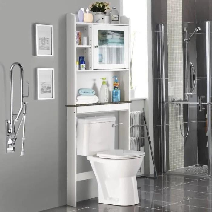 meuble de salle de bains dessus toilette wc avec 2 portes et etagere en bois rangement de toilette blanc 59 2 x 18 9 x 172 9cm