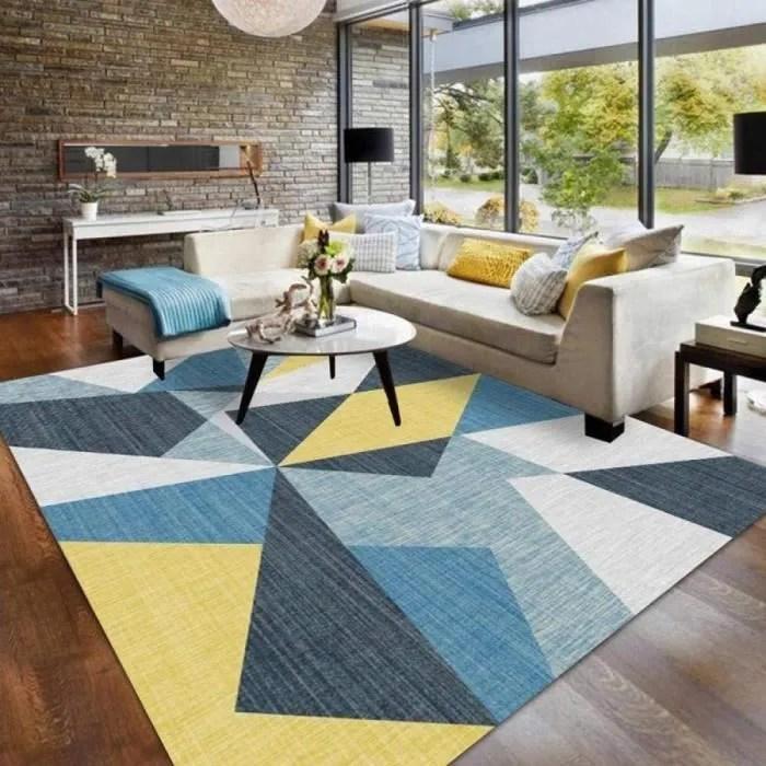 hio tapis salon jaune bleu colore