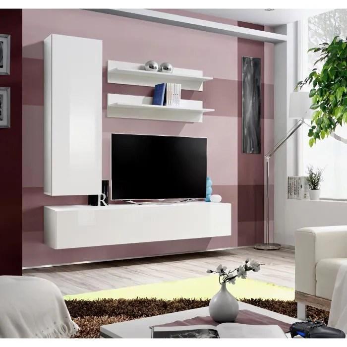 price factory meuble tv fly h1 design coloris blanc brillant meuble suspendu moderne et tendance pour votre salon