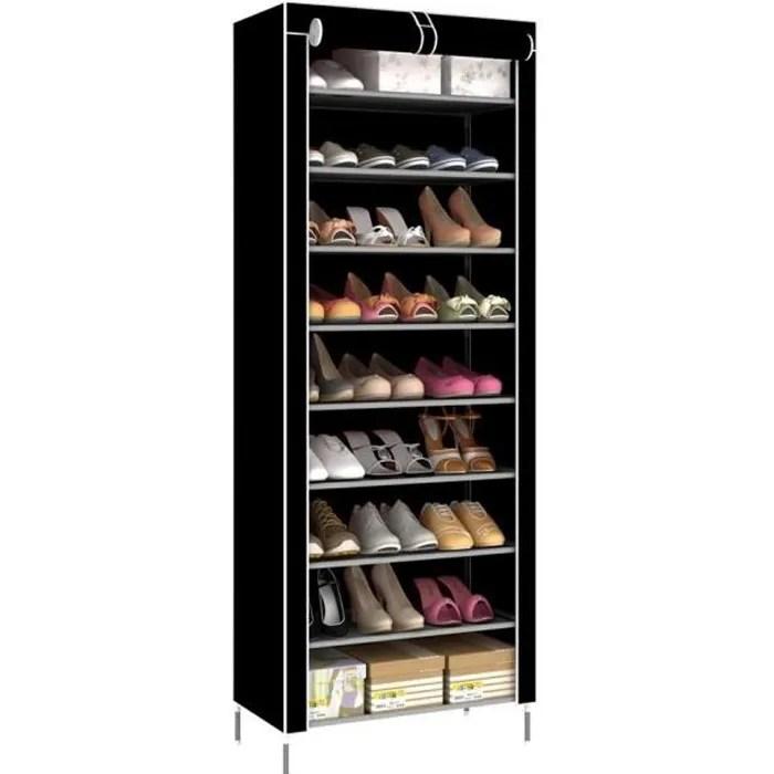 meuble a chaussure rangement chaussure 9 niveaux chaussures stockage noir