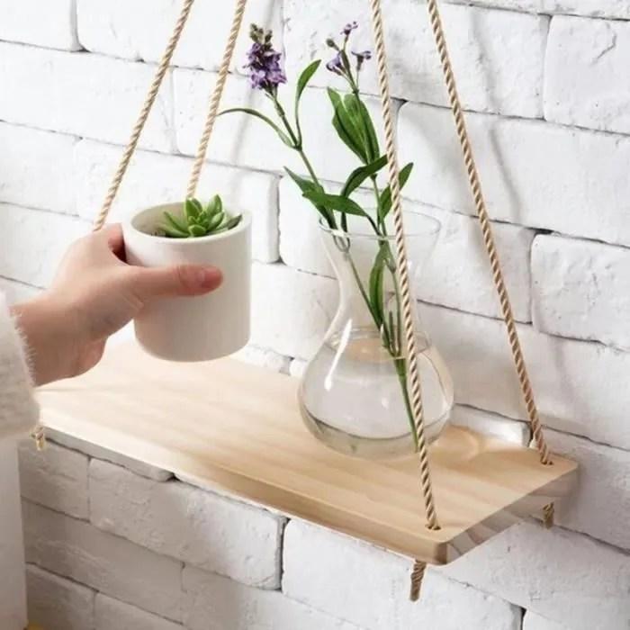 etagere suspendue en bois avec corde tablette murale pot de fleurs en bois pour decor de cuisine chambre salon bureau l 45x14x2 cm