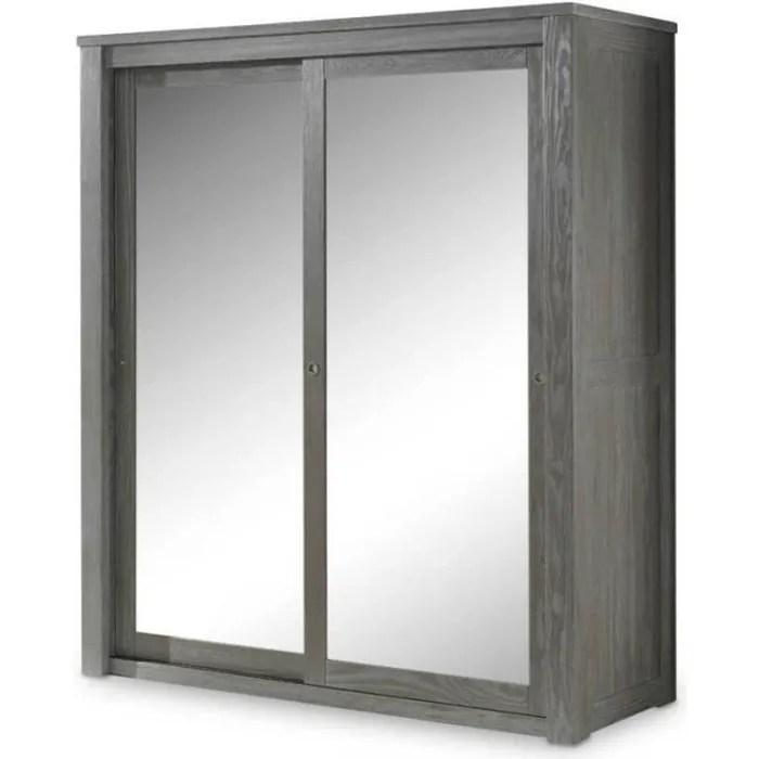 armoire 2 portes coulissantes miroir bois massif gris gabriel l 180 x l 64 x h 202
