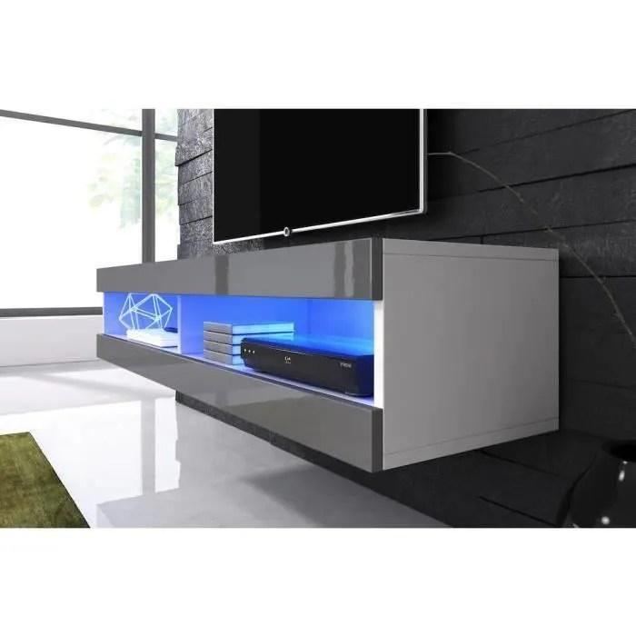 meuble tv suspendu blanc mat facade laque gris ave