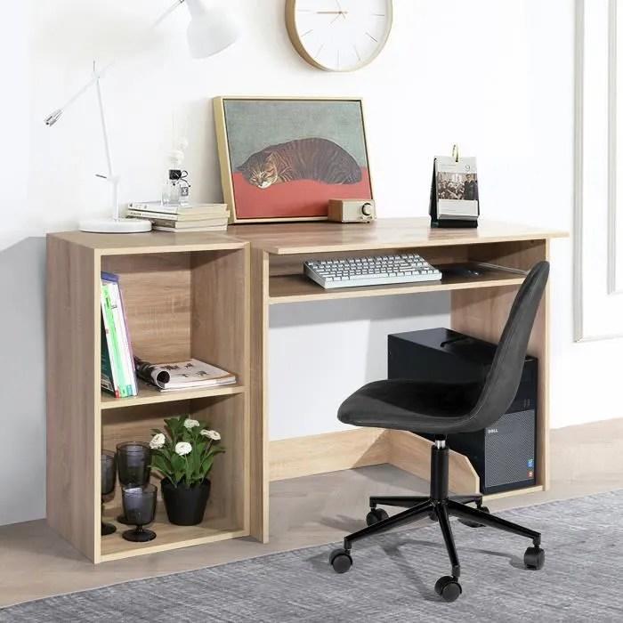 furhisn1 ensemble bureau d ordinateur avec etageres bureau pour enfant rangement station de travail pour bois hetre