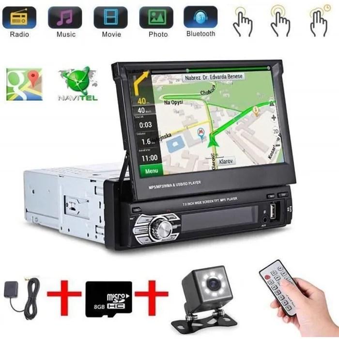 letouch autoradio bluetooth stereo gps 1din 7 ecran auto retractable tactile 1080p radio fm am mp3 sd usb camera de recul
