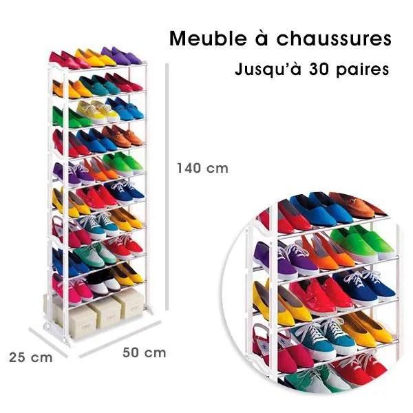meuble organisateur range chaussures 25 a 30 paires blanc