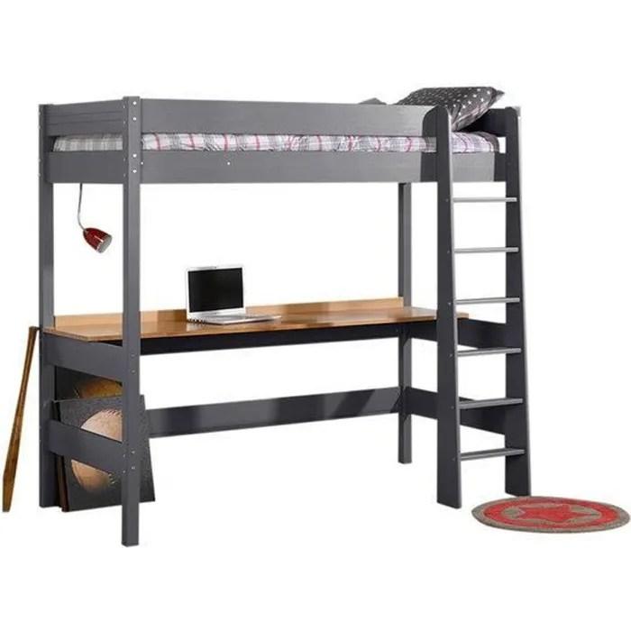 lit mezzanine avec bureau clea gris anthracite 90x190 cm