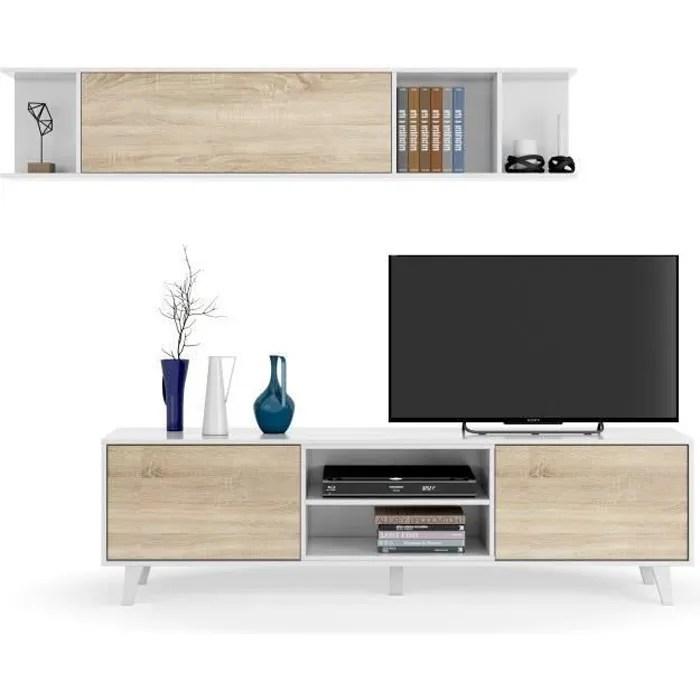 zaiken plus meuble tv scandinave blanc brillant et