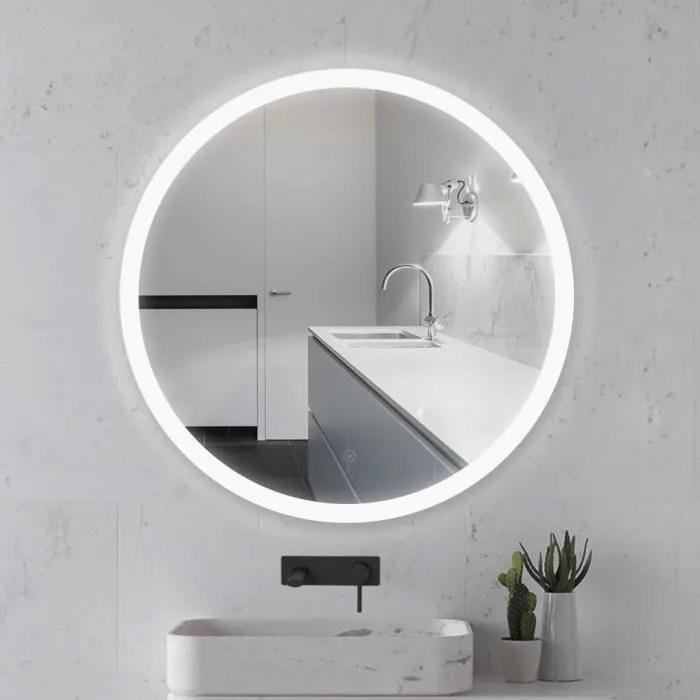 miroir rond noir lumineux