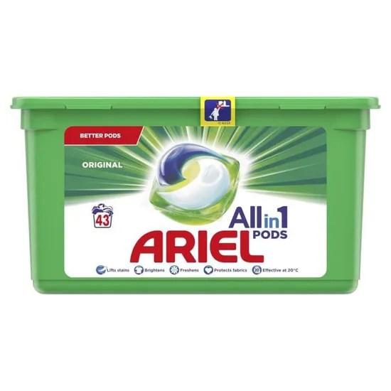 ariel pods original all in 1 lessive capsule boite de 43 capsules