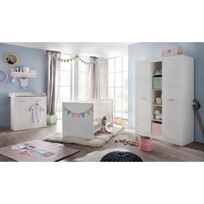 ronja chambre bebe complete lit 70 140 cm armoire commode blanc