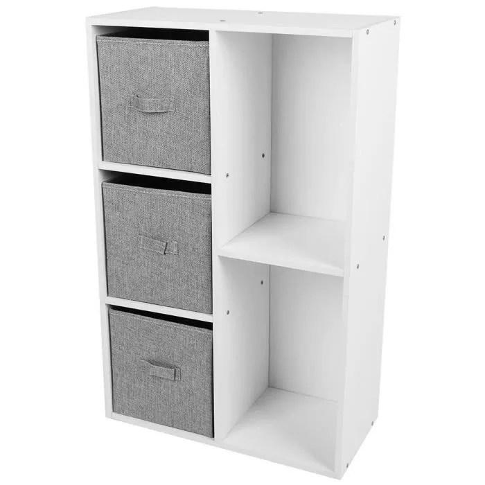 meuble de rangement 5 casiers bibliotheque etagere